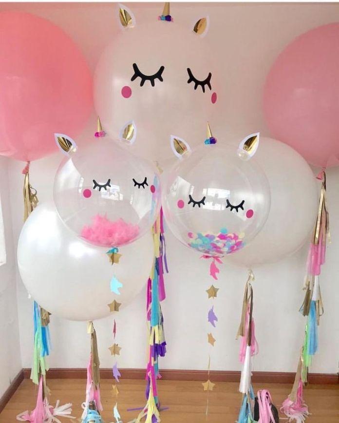 Decoración de globos para niñas unicornios