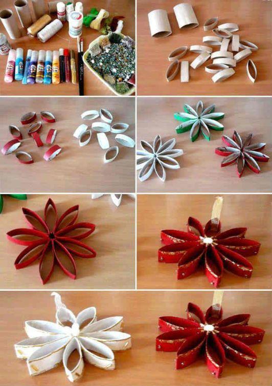 Adorno navideños con Estrellas navideñas hechas con rollos de papel