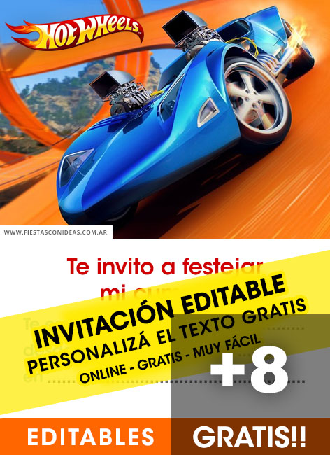 8 free hotwheels birthday invitations