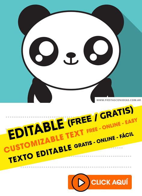 free kawaii panda birthday invitations