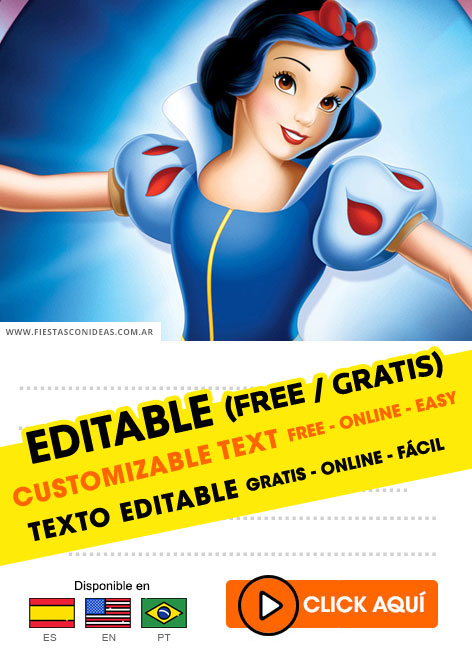 9 free snow white birthday invitations