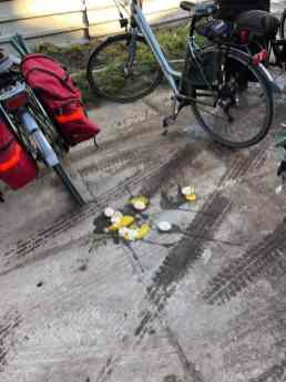 De eerste eieren sneuvelen buiten al bij Boerderij Hoogendonk — bij Boerderij Hoogendonk.