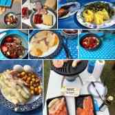 Het Sallandse streekvoer van mijn tweede kampeertrip: - aardbeien en asperges van de A.T.L. Hasselbachweg 17, Haarle - eieren, thee, ham en BBQ-pakket van Neimeijer's 4 Jaargetijden Vlees en Jager & Boer, kaas, ongebrande noten, Griekse yoghurt van Drentse Aa Zuivel, alles gekocht bij Kleinlangevelsloo - Supermarkt in het Bos - sperziebonen van Van Roalter Grond / Huisman, Evenbelterweg, Raalte - nog een beetje Westland: de laatste aardappelen van Boer Pait Peter Hoogendonk van m'n pa en ma - kip van Kippie Rijssen Grill- en Maaltijdenwinkel — bij Nationaal Park Sallandse Heuvelrug.