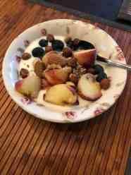 DelflandseZuivel yoghurt met blauwe bessen van Keurslager Poleij, wilde perziken van Cees van Staalduinen, ongebrande noten van Biefit Gezondheidswinkel en gemengde zaden van Het Blauwe Hek — bij Fietsen voor m'n eten.