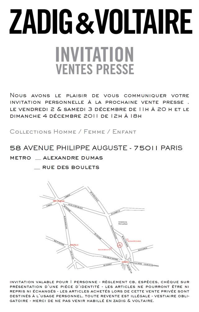 Vente presse Zadig&Voltaire   Hiver 2011   zv