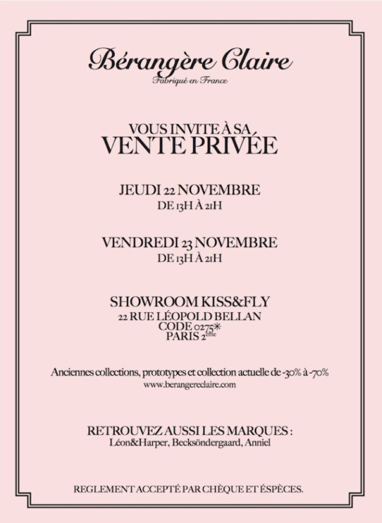 Vente privée Bérangère Claire   vente privee berangere claire 550x752