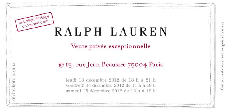Vente privée Ralph Lauren chez Adèle Sand   Automne 2012   vente privee ralph lauren
