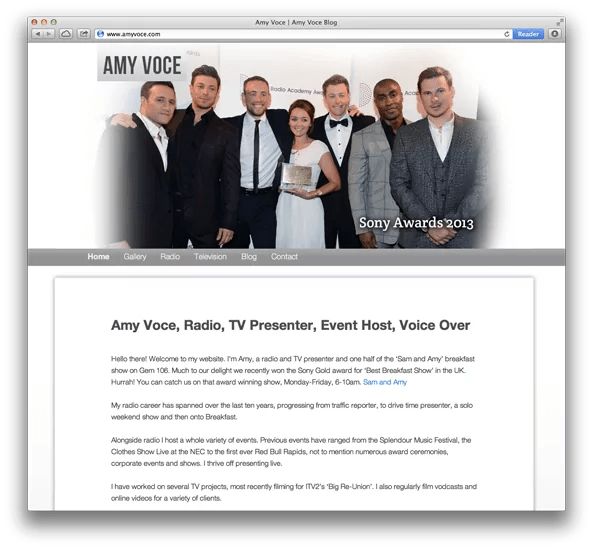 Website Design For Gem 106 Host Amy Voce home
