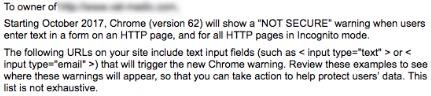Google's security warning