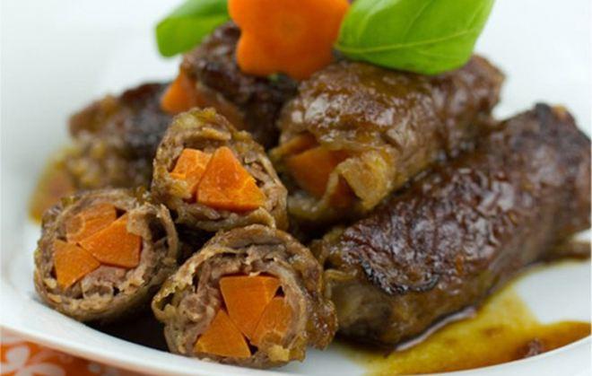 Ρολάκια μοσχαρίσιου φιλέτου με λαχανικά