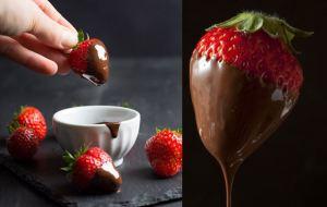 Φράουλες βουτηγμένες σε πικάντικη σοκολάτα