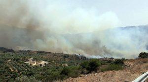 Ανεξέλεγκτη είναι η πυρκαγιά στα Χανιά που καίει σε δασική αγροτική έκταση με τις φλόγες να φτάσουν μέχρι τις αυλές σπιτιών στις Βρύσες.