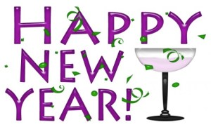 Happy New Year graphic in purple and green lettering with champagne glass