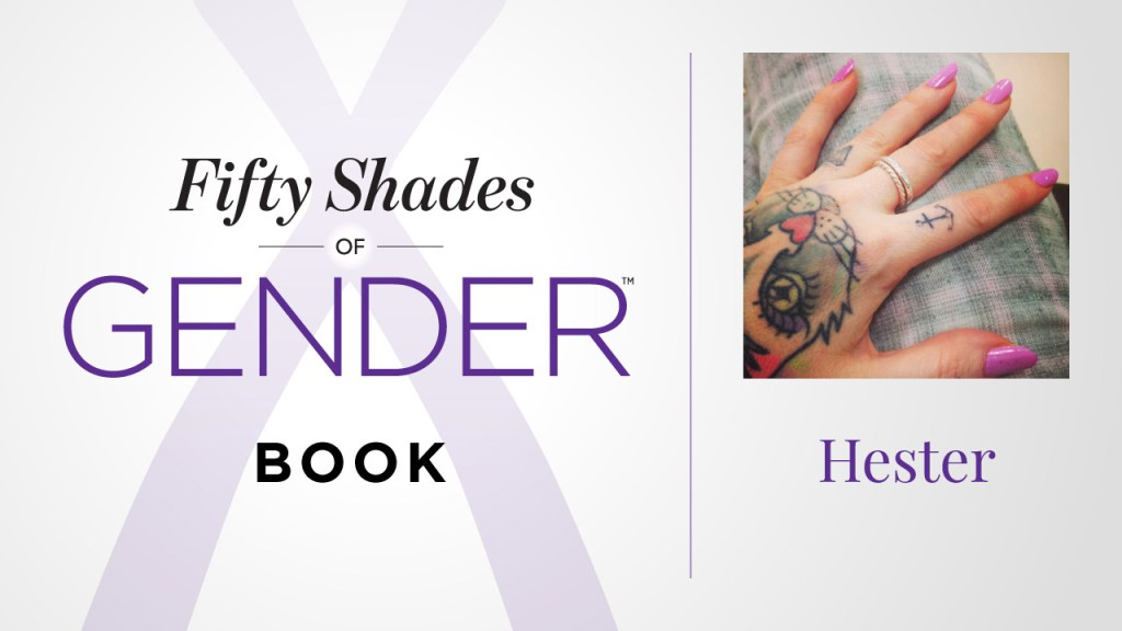 Fifty Shades of Gender book graphic with Hester