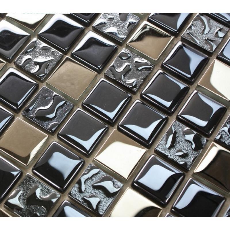 dark blue and silver glass mosaic backsplash tile coated crystal bathroom accent tile shower