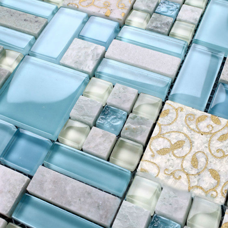 glass blue tile backsplash cream stone gold patterned mosaic accent tile shower bathroom wall tiles