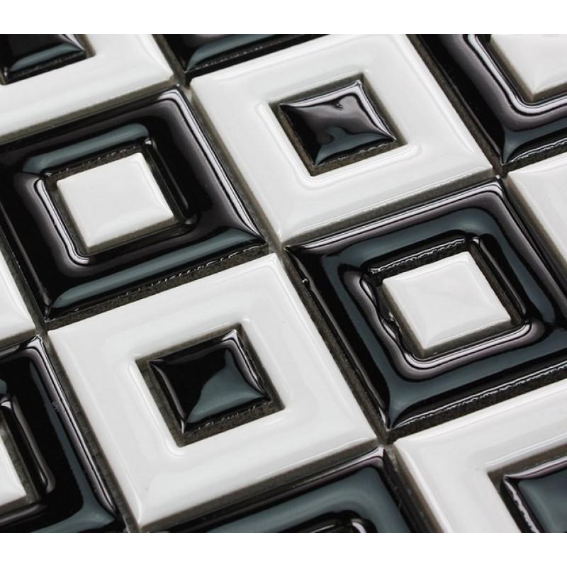 black and white ceramic mosaic floor tile bathroom shower wall porcelain tiles 2 x 2 in window patterns