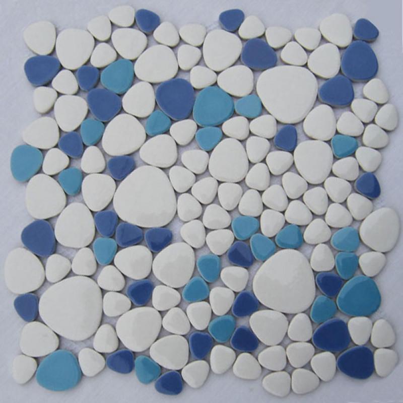 white aqua blue baby blue porcelain pebble tile glossy ceramic mosaic floor tile bathroom backsplash tiles