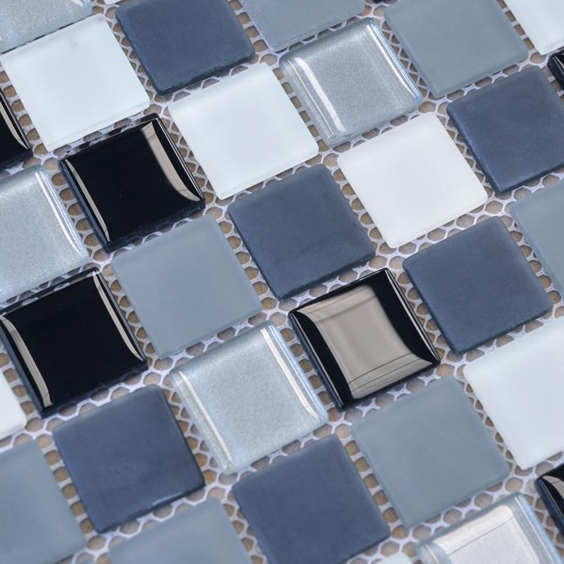 gray blue glass mosaic tile for bathroom walls slip resistant shower floor tile splash boards for kitchens