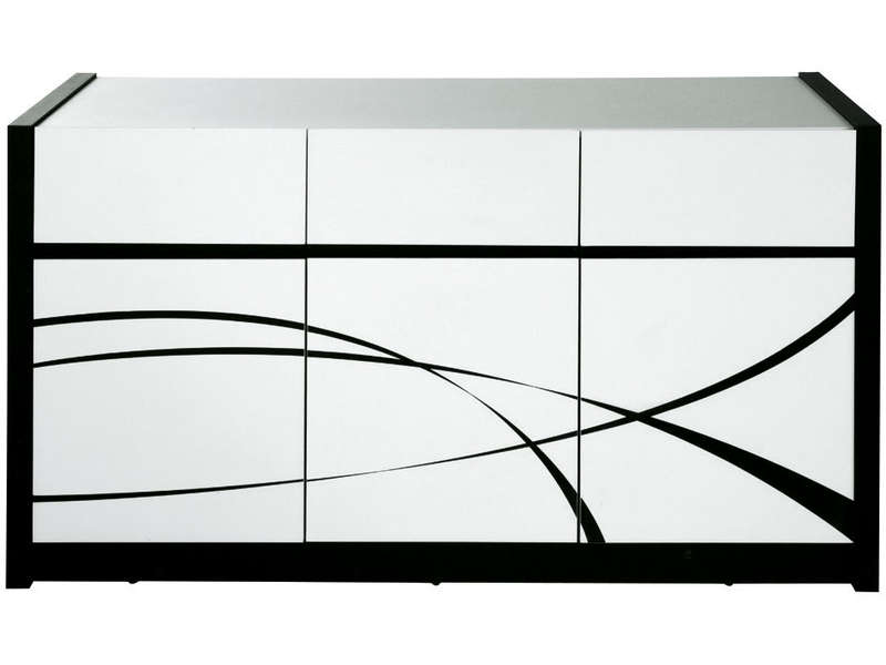 3 tiroirs dallas coloris blanc noir