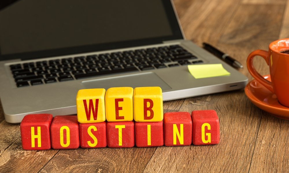 Web hosting blocks on a laptop