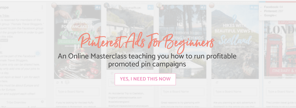 Pinterest Ads for Beginners masterclass homepage