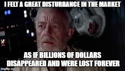Meme of Obi-Wan Kenobi feeling a great disturbance on the market