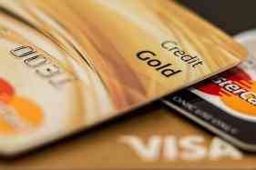 Blurred Image Of Gold Credit Cards