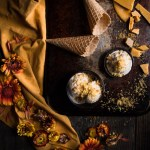 Milk tea ice cream with honeycomb and brioche crumb