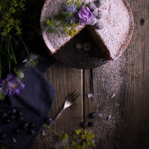 Blueberry and lemon curd victoria sponge cake