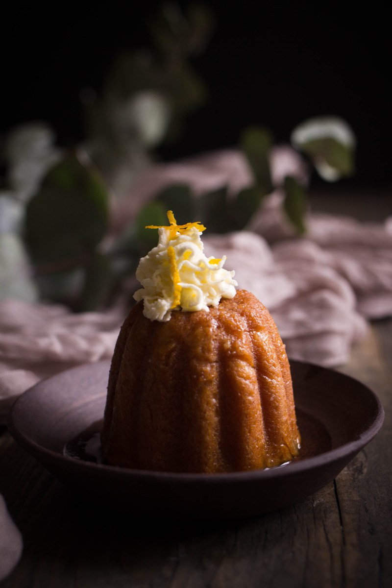 Amaretto baba with orange blossom cream