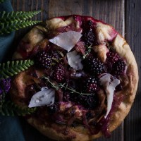 Blackberry and Rosemary Focaccia with Caramelised Balsamic Onions