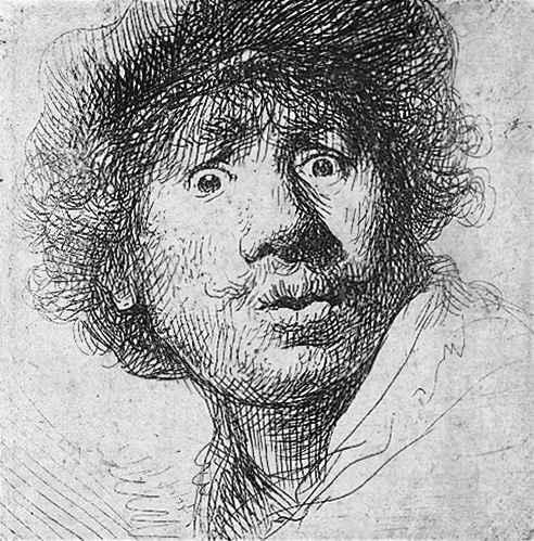 Rembrandt-Selbstportrait-Radierung