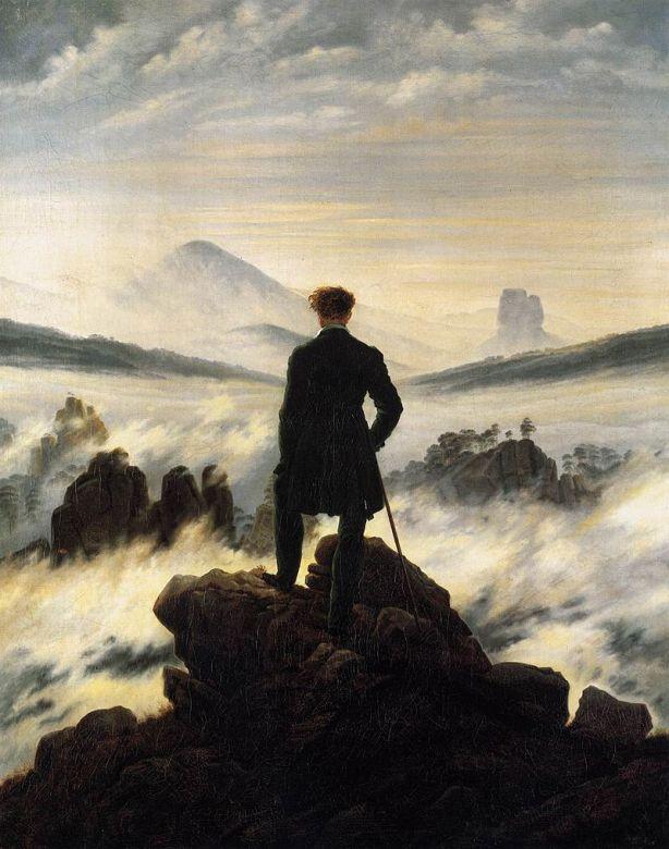 Der Wanderer über dem Nebelmeer (Caspar David Friedrich, um 1818) rückenansicht