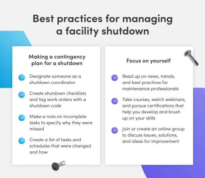 Best practices for managing a facility shutdown