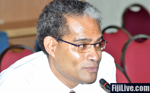 National Youth Party leader Nayagodamu Korovou while making his submission on Fiji's new constitution in Nasinu yesterday. The newly formed party will contest the 2014 elections: Photo: Kunal Keshneel.