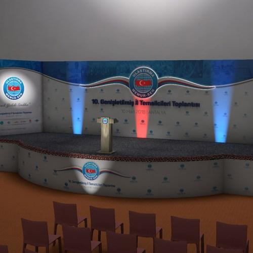 Ulaştırma Memur Sen 9. Genişletilmiş İl Temsilcileri Toplantısı Antalya Sahne Tasarımı 3D Modelleme Cepheden Görünüm Sahne Işık Sistemi