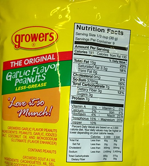 Growers Peanuts Ingredients List