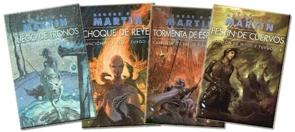 """Los cuatro primeros títulos de la saga """"Canción de hielo y fuego"""" . Publicados por la editorial Gigamesh."""