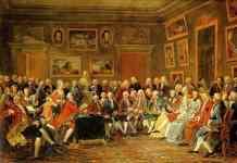 """""""Lectura de la tragedia del orfelino de China, de Voltaire, en el salón de Madame Geoffrin"""". Cuadro de Anicet Charles Gabriel Lemonnier, 1812 (Castillo de Mailmaison)"""