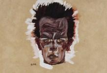 Autorretrato, cabeza (1910), se puede ver en la exposición que actualmente y hasta el 14 de enero de 2019 la Fondation Louis Vuitton le dedica a de Egon Schiele, Ömer Koç Photo : © Hadiye Cangókçe