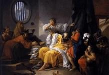 """La muerte de Sócrates"", de Jacques-Philippe-Joseph de Saint-Quentin (1762). Escuela Nacional Superior de Bellas Artes (París). (Imagen de dominio público)."