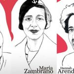 Simone de Beauvoir, María Zambrano y Hannah Arendt, tres de las grandes filósofas homenajeadas en el calendario Filosofers 2020, al que pertenecen las tres ilustraciones de esta imagen.