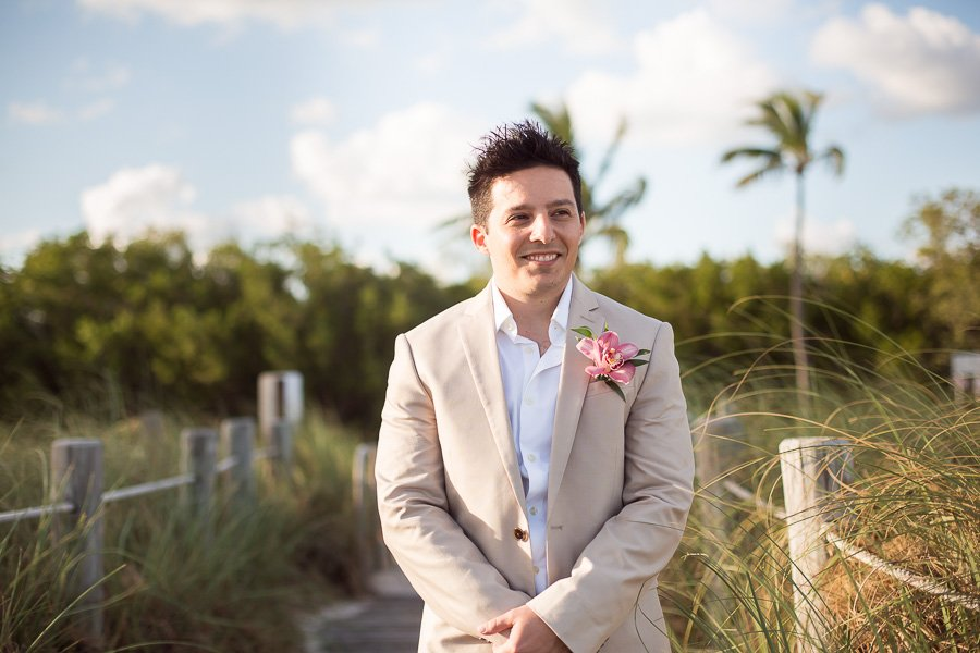 handsome groom waiting on his bride for their beach wedding in key west florida