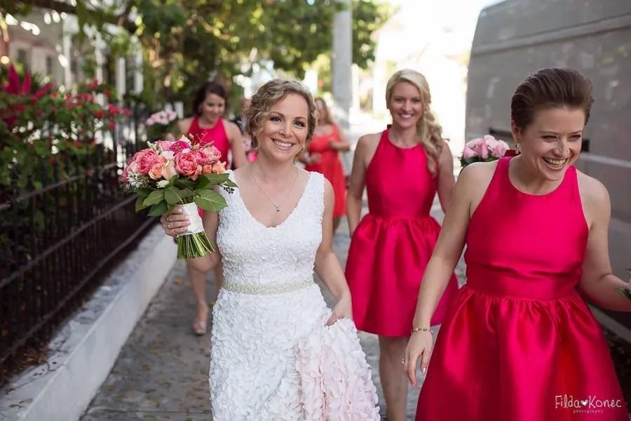 bride and bridesmaids walking downtown key west florida