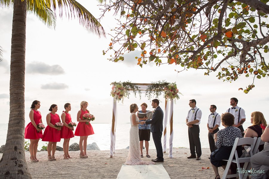 beach wedding ceremony at fort zachary taylor state park