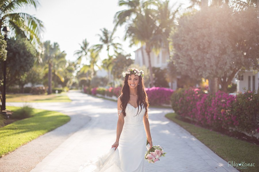 bride walks to the boat at sunset key key west florida