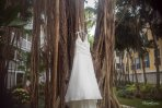 bridal dress hanging on the tree at sheraton suites