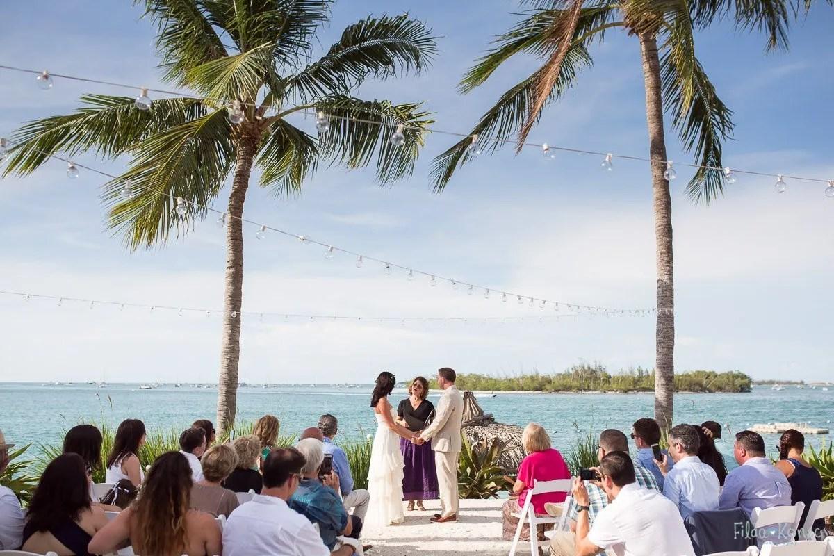 beach wedding ceremony on sunset key island