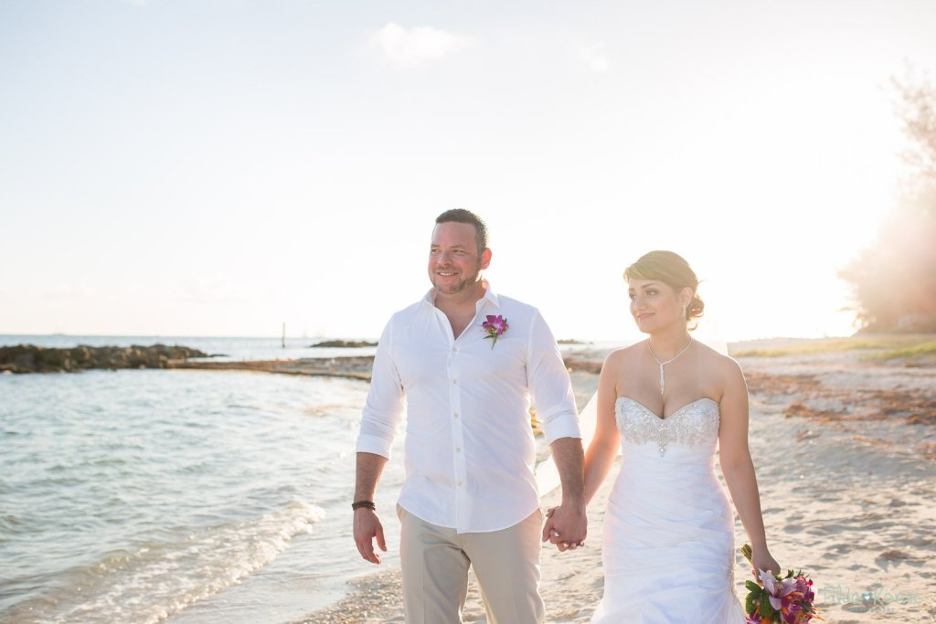 wedding couple on key west beach at fort zachary taylor